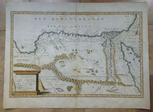 EGYPT LYBIA 1655 NICOLAS SANSON UNUSUAL LARGE ANTIQUE MAP IN COLORS