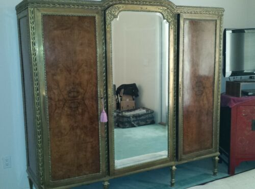 Antique Louis VI Style French Brass and Burl Walnut mirrored Wardrobe / Armoire