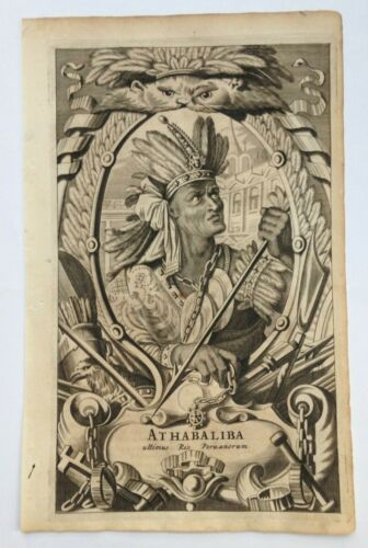 ATHABALIBA 1671 MONTANUS RARE ANTIQUE ENGRAVED PLATE 17TH CENTURY