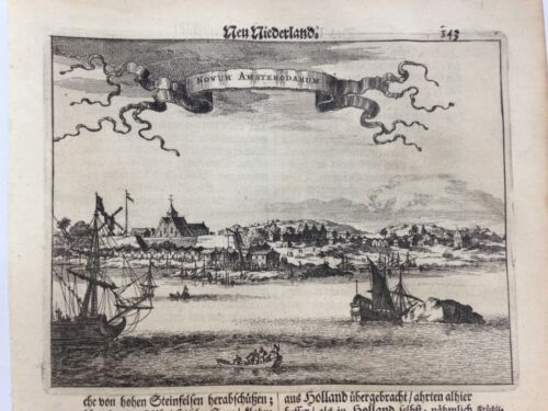 NEW AMSTERDAM - NEW YORK 1673 MONTANUS RARE ANTIQUE ENGRAVED VIEW 17TH CENTURY