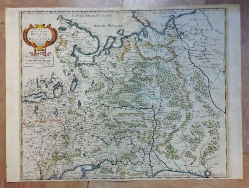 RUSSIA MOSCOVIA c. 1646 DU VAL UNUSUAL LARGE ANTIQUE MAP IN COLORS 17TH CENTURY