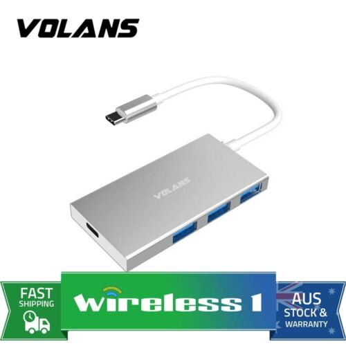 VOLANS Aluminium USB-C to 3-Port USB 3.0 Hub with Power Delivery VL-HB3C