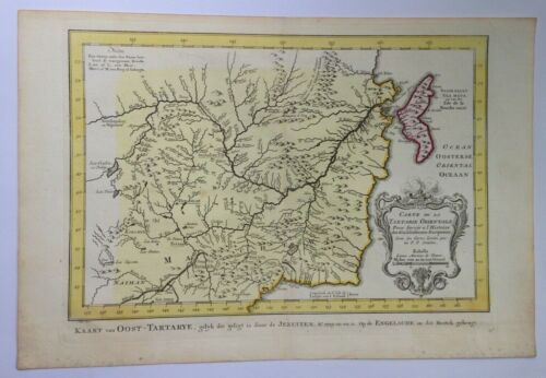 RUSSIA TARTARY 1773 by NICOLAS BELLIN NICE ANTIQUE ENGRAVED MAP 18TH CENTURY