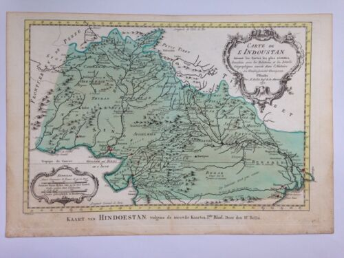 INDOUSTAN 1773 by NICOLAS BELLIN NICE ANTIQUE ENGRAVED MAP 18TH CENTURY