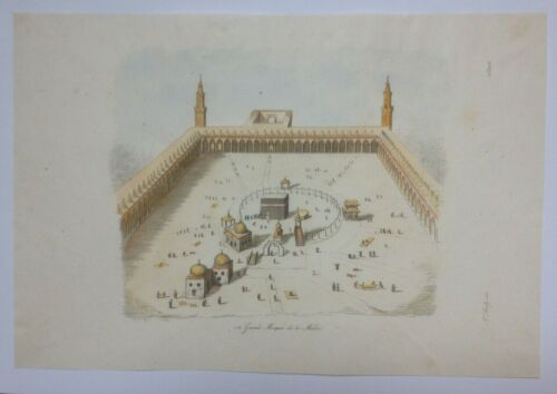 THE TEMPLE AT MECCA SAUDI ARABIA 19TH CENTURY NICE ANTIQUE ENGRAVED VIEW