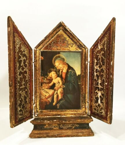 Vintage Italian altar. Religious tryptych, hand carved & painted. Exquisite.