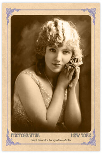 MARY MILES MINTER Gorgeous Silent Film Star Vintage Photograph Cabinet Card RP