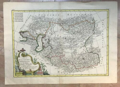 TARTARY 1760 Rigobert BONNE/ LATTRE LARGE ANTIQUE MAP OLD COLORS 18TH CENTURY