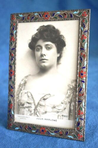 """Great Vintage Sterling Silver Enamel 3"""" x 5"""" Photo Russian Easel Picture Frame"""