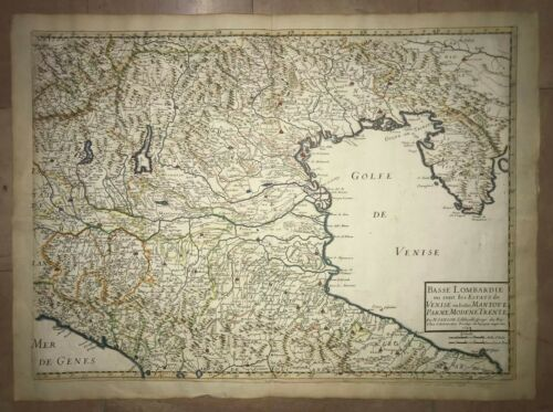 ITALY LOMBARDY 1648 NICOLAS SANSON LARGE ANTIQUE MAP IN COLORS 17TH CENTURY
