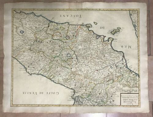 ITALY TUSCANY 1648 NICOLAS SANSON LARGE ANTIQUE MAP IN COLORS 17TH CENTURY
