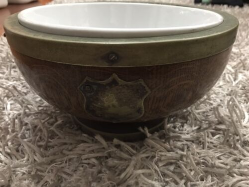 Antique Wooden Trophy Bowl with Wedgwood Bowl Insert