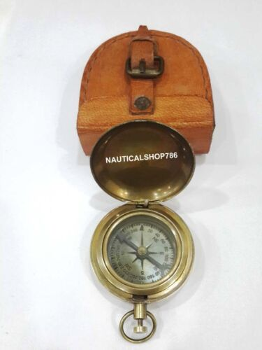Antique Nautical Maritime Pocket Compass With Leather Case Free Gifting Item