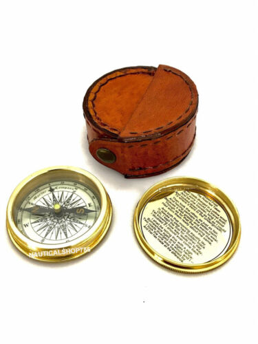 Antique Brass Pocket Compass with Leather Case Gift Nautical Decor