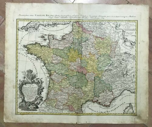 ROYAUME DE FRANCE DATED 1765 HOMANN HRS LARGE ANTIQUE ENGRAVED MAP 18TH CENTURY