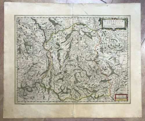 FRANCE NEVERS 1644 Willem & Johann BLAEU LARGE ANTIQUE MAP 17TH CENTURY