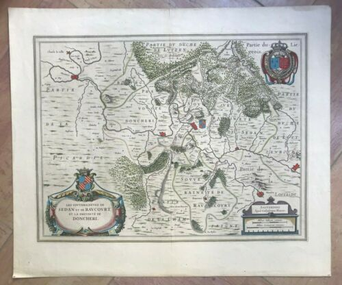 SEDAN DONCHERY FRANCE 1640 WILLEM BLAEU UNUSUAL LARGE ANTIQUE MAP 17TH CENTURY