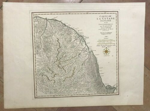 FRENCH GUIANA GUYANE 1783 by D'ANVILLE UNUSUAL LARGE ANTIQUE MAP 18e CENTURY
