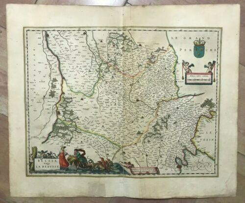 BEAUSSE FRANCE 1640 WILLEM BLAEU UNUSUAL LARGE ANTIQUE MAP 17TH CENTURY