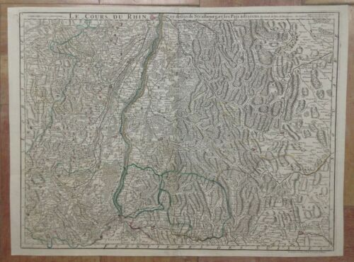 COURSE OF RHINE 1745 DELISLE / P. BUACHE LARGE ANTIQUE ENGRAVED MAP 18TH CENTURY