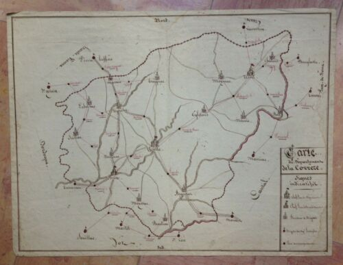 CORREZE FRANCE LARGE ANTIQUE HAND DRAWN MAP FIRST PART OF 19TH CENTURY Anonymous