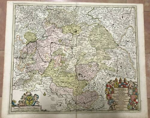 GERMANY FRANCONIA 1690 FREDERIK DE WIT UNUSUAL LARGE ANTIQUE MAP 17TH CENTURY