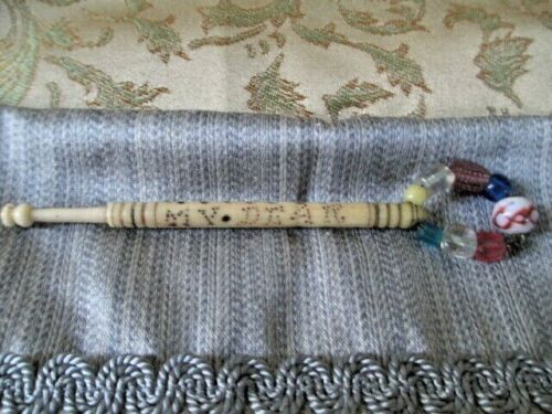 Antique Victorian Carved Lace Bobbin With Love Inscription
