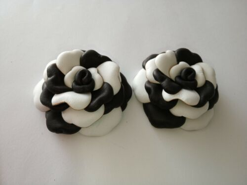 Leather Shoe Clips, Set of 2, Leather roses white & black. Handmade