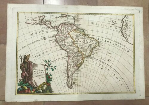 SOUTH AMERICA RUSSIAN EDITION by BONNE 1793 RARE LARGE ANTIQUE MAP 18TH CENTURY