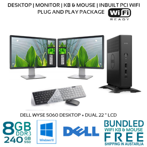 """Computer Package Dell 5060 8GB 240GB SSD 22/24"""" LCD Win10P WIFI"""