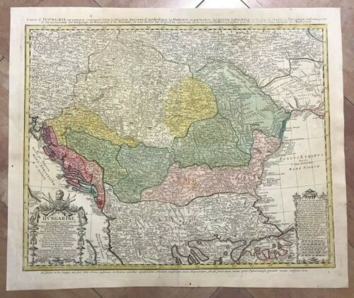 HUNGARY BALKANS DATED 1744 HOMANN HEIRS LARGE ANTIQUE ENGRAVED MAP 18TH CENTURY