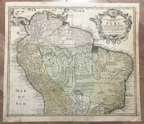 PERU BRAZIL COLOMBIA GUYANE c. 1740 HOMANN HRS LARGE ANTIQUE MAP 18TH CENTURY