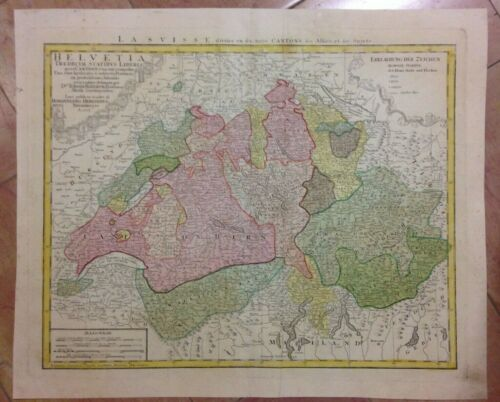 SWISS 1751 HOMANN HRS LARGE ANTIQUE ENGRAVED MAP 18TH CENTURY