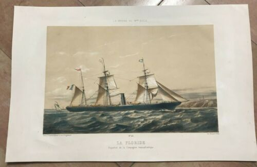 FRENCH LINES PAQUEBOT LA FLORIDE by LEDUC 1863 19TH C. LARGE LITHOGRAPHIC VIEW
