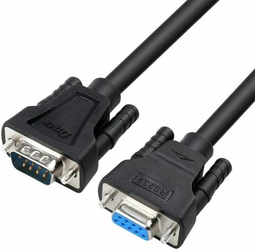 Serial Cable Extension Male to Female 9 Pin Straight Through Cord-15 Feet, Black