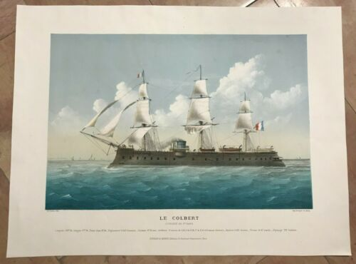MARINE BATTLESHIP LE COLBERT by LEDUC 19TH CENTURY LARGE LITHOGRAPHIC VIEW