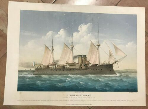 BATTLESHIP L'AMIRAL-DUPERRE by LEDUC 19TH CENTURY LARGE LITHOGRAPHIC VIEW