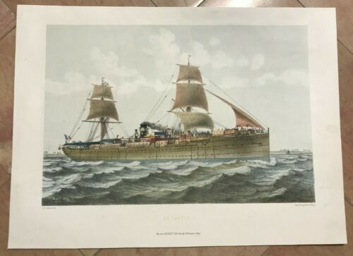 MARINE BATTLESHIP LE CANTON by LEDUC 19TH CENTURY LARGE LITHOGRAPHIC VIEW