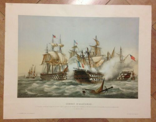 BATTLE OF ALGESIRAS 14 July 1801 by LEDUC 19TH CENTURY LARGE LITHOGRAPHIC VIEW