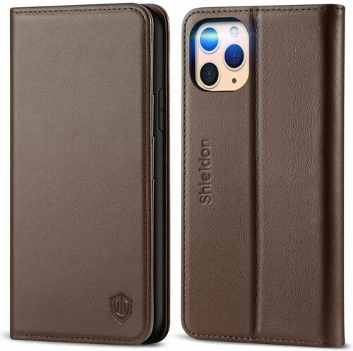 iPhone 11 Pro Case, Genuine Leather Auto Sleep Wake Wallet,5.8 Inch-Coffee Brown