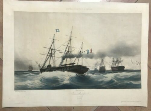 SHIP TRANSATLANTIQUE by DURAND DATED 1845 19TH CENTURY LARGE LITHOGRAPHIC VIEW