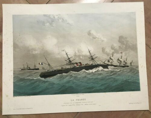 FRENCH LINES PAQUEBOT LA FRANCE by KOERNER 19TH CENTURY LARGE LITHOGRAPHIC VIEW