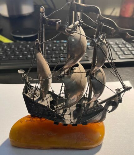 Silver Sailing Vessel Installed on Baltic Amber Base