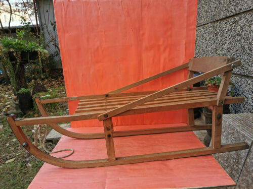 OLD VINTAGE PRIMITIVE SLEIGH CARRIAGE SLED WOODEN HANDMADE SNOW COASTER