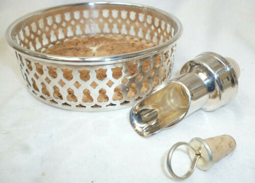ORNATE SILVER WINE BOTTLE COASTER and NON-DRIP POURER very good condition