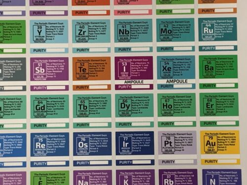 The Periodic Table of Elements Full Colour Vinyl Stickers Pure - periodic table