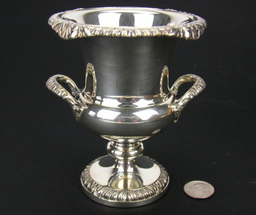 Vintage Small Silver Plate Handled Urn, Prince of Wales Feather Mark