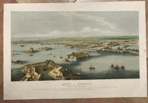 KRONSTADT RUSSIA by VEITH DATED 1854 19TH CENTURY LARGE LITHOGRAPHIC VIEW