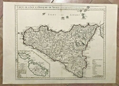 SICILY ITALY 1717 XVIIIe CENTURY GUILLAUME DELISLE LARGE ANTIQUE ENGRAVED MAP