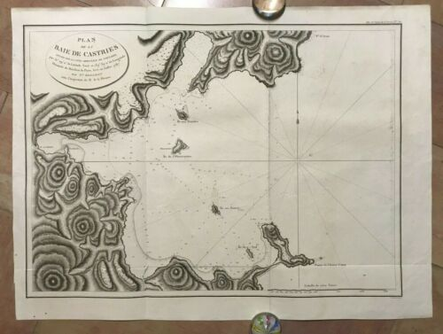 BAY OF CASTRIES TARTARY 1797 LA PEROUSE VERY LARGE ANTIQUE ENGRAVED SEA CHART